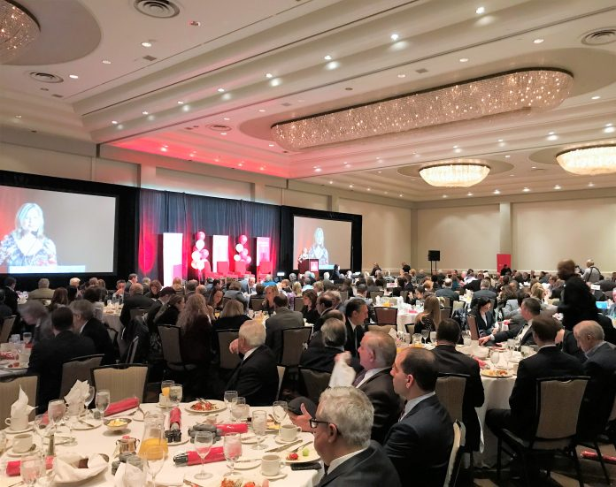 NEARLY 300 members of the Rhode Island business community attended an economic-outlook breakfast in Providence/PBN PHOTO/ELI SHERMAN