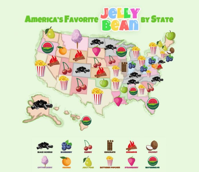 CANDYSTORE.COM reports that the most popular jelly bean flavor in Rhode Island in its most recent survey is Blueberry. / COURTESY CANDYSTORE.COM