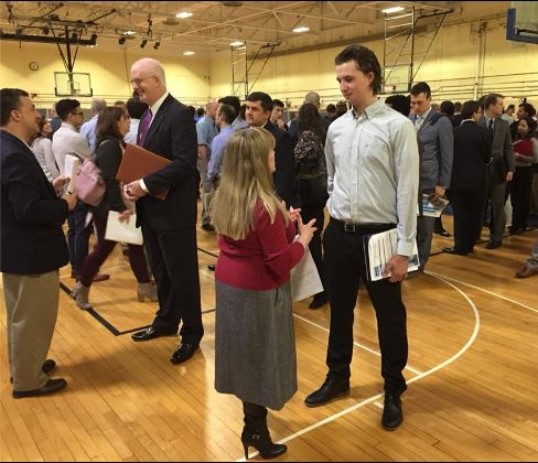 ON-SITE INTERVIEWS were offered at a March 3 Naval Undersea Warfare Center Job Fair at the organization's Newport headquarters. / COURTESY NUWC