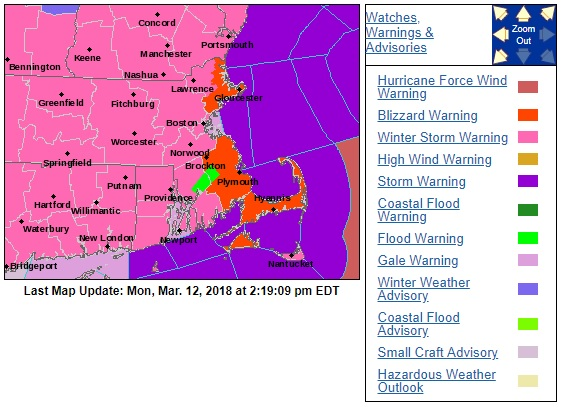 ALL OF RHODE ISLAND as well as Massachusetts and Connecticut are under a Winter Storm Warning from the National Weather Service, which expects 10-15 inches of snow to fall on the region, with localized accumulation of up to 18 inches. / COURTESY NATIONAL WEATHER SERVICE