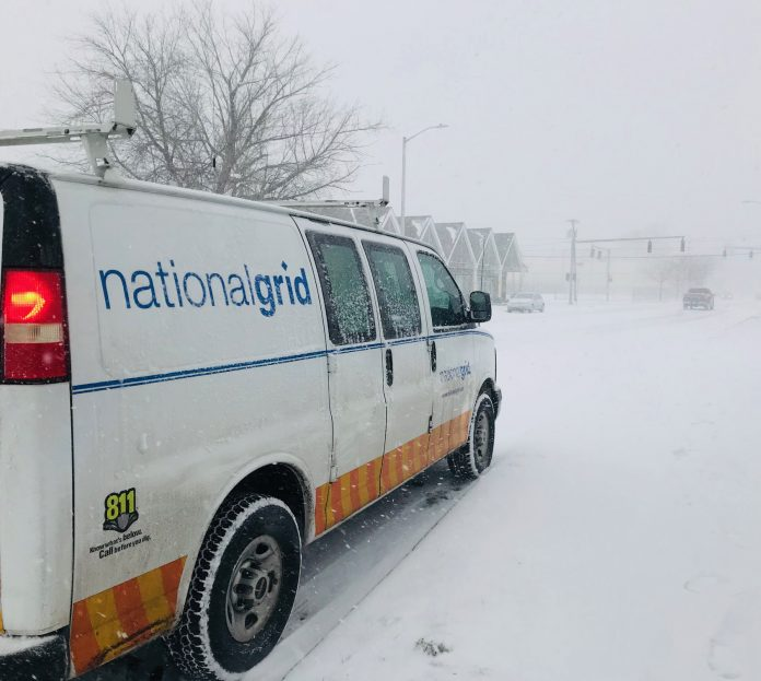 NATIONAL GRID is donating $100,000 to support the American Red Cross disaster relief fund in the wake of recent winter weather events. Above, a National Grid Rhode Island van at Cranston and Bridgham streets in Providence. / PBN FILE PHOTO/ELI SHERMAN