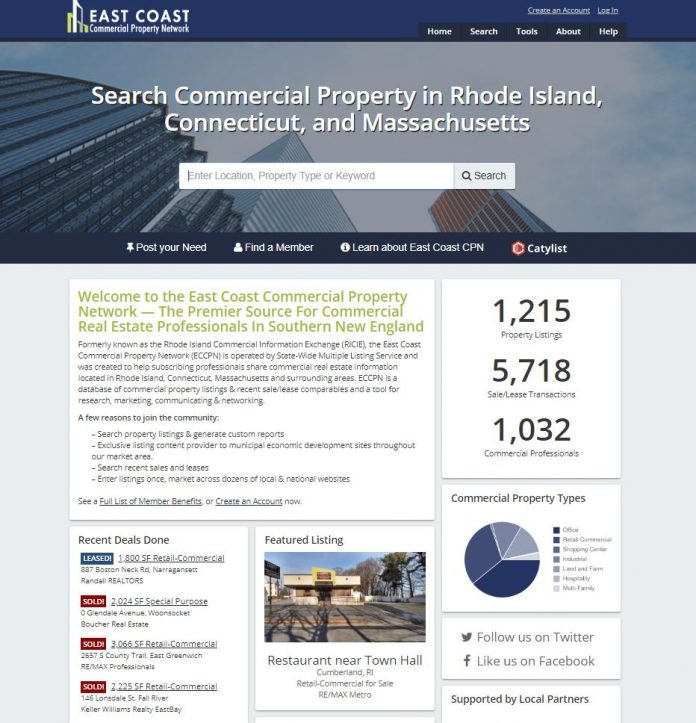THE RHODE ISLAND COMMERCIAL Information Exchange is now the East Coast Commercial Property Network, as subscribers are able to list Connecticut and Massachusetts properties on the organization's new website, EastCoastCPN.com, along with Rhode Island properties. / COURTESY EAST COAST COMMERCIAL PROPERTY NETWORK