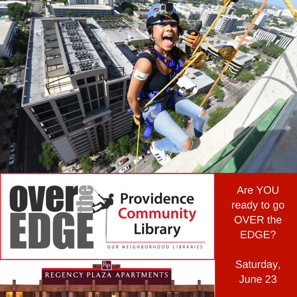 THE PROVIDENCE COMMUNITY LIBRARY is partnering with Over the Edge to hold a fundraiser on June 23 in which members of the public will rappel down the 12-story Regency Plaza in downtown Providence in support of the library's nine branches throughout the city. / COURTESY PROVIDENCE COMMUNITY LIBRARY