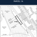 THE I-195 REDEVELOPMENT District Commission has petitioned the City Council, seeking the abandonment of four historical former streets, or gangways, that cross one of its development parcels, Parcel 1A, shown above, in Providence. / COURTESY I-195 REDEVELOPMENT DISTRICT COMMISSION