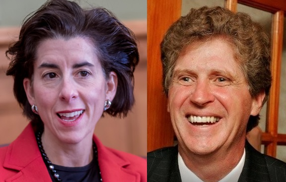 GOV. GINA M. RAIMONDO and Lt. Gov. Daniel J. McKee are not entirely in agreement over the response of National Grid Rhode Island to the recent storms. / PBN FILE PHOTO/MICHAEL SALERNO / COURTESY TOWN OF CUMBERLAND