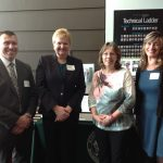 AT THE PARTNERSHIPS ADVANCING STEM Education event at Sensata Technologies in Attleboro: From left, Mansfield Public Schools Assistant Superintendent Michael Connolly, Superintendent Teresa Murphy and Mansfield High School teachers Deborah Fournier and Laura Smith. / COURTESY STACEY KAMINSKI