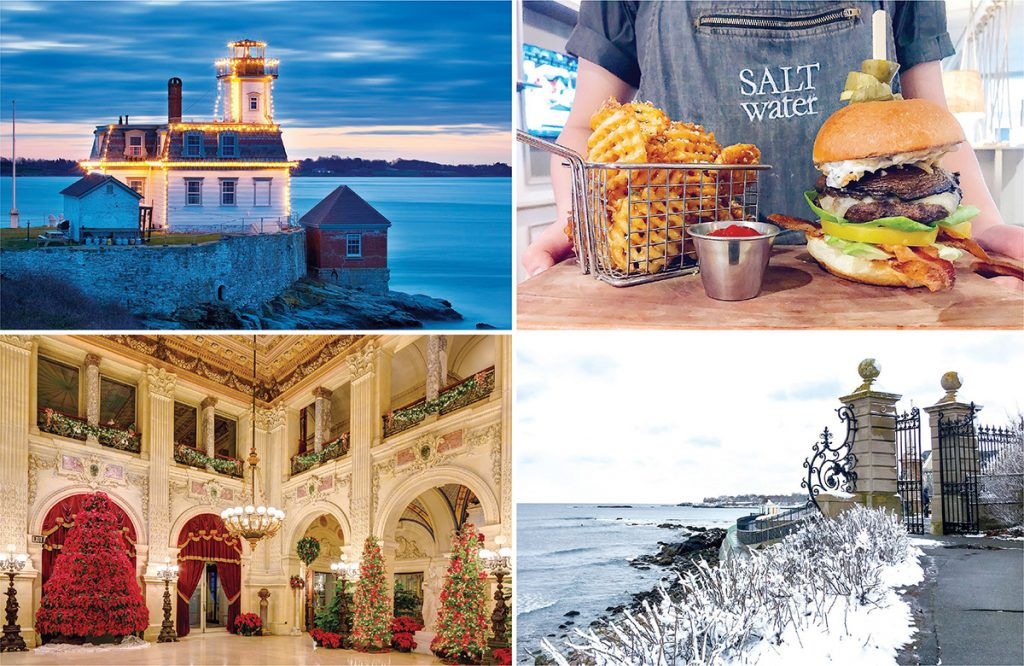 NEWPORT ATTRACTIONS: Clockwise from top left: The sun sets on Rose Island Lighthouse, which is lit up for the holidays; a sample of the mega truffle mushroom burger and waffle fries at Saltwater at Newport Harbor Hotel; a winter view from the Newport Cliff Walk; and Great Hall at The Breakers decorated for Christmas. / COURTESY DISCOVER NEWPORT & PRESERVATION SOCIETY OF NEWPORT COUNTY