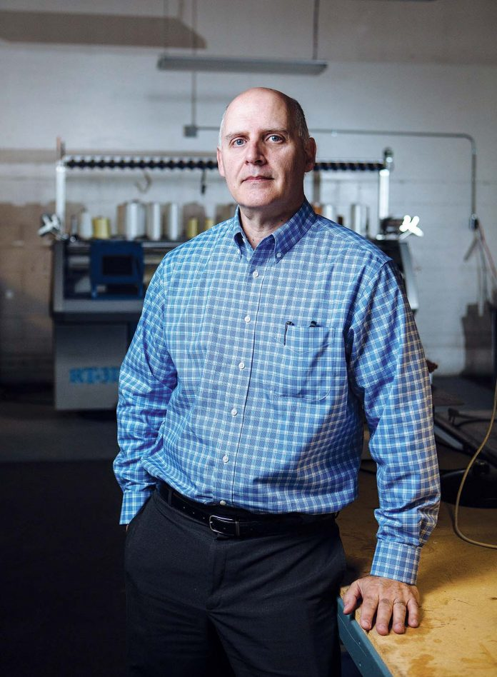David Pettey is co-founder of Response Technologies, a winner in the 2016 Rhode Island Business Plan Competition that combines additive manufacturing and innovative material science capabilities to create solutions for the military, aerospace, automotive and tactical markets. / PBN PHOTO/RUPERT WHITELEY