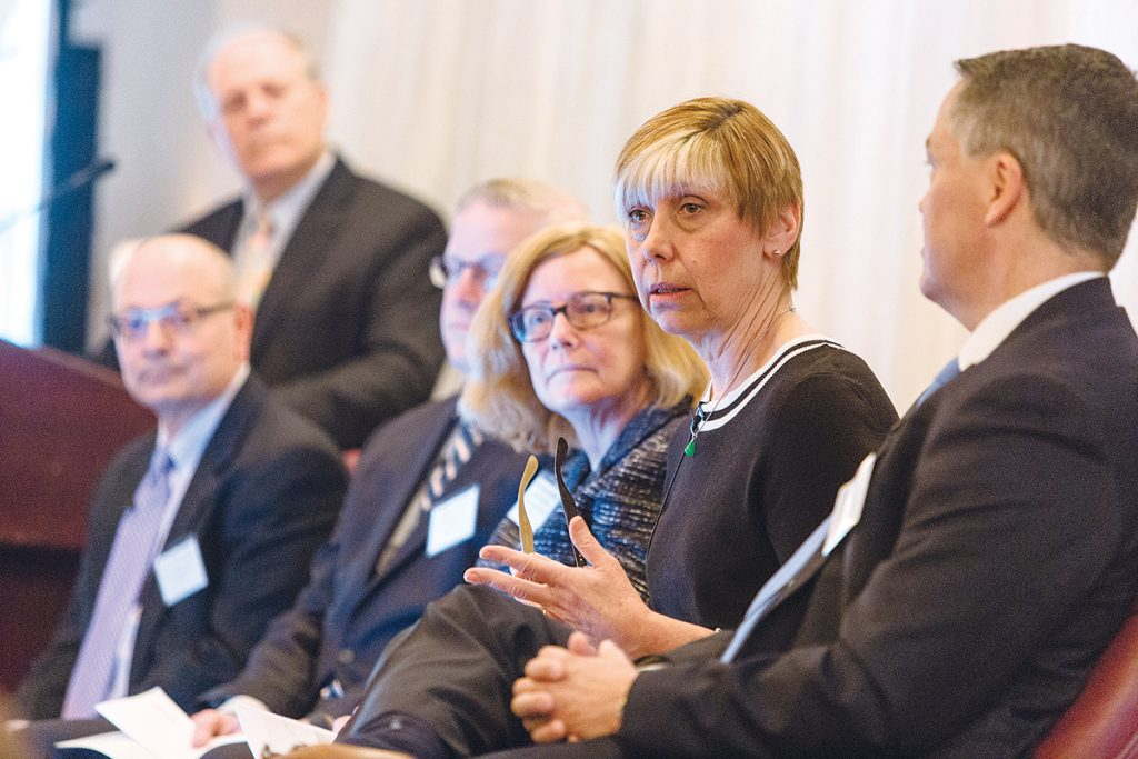 IMPROVEMENT AND CHALLENGES: Joan Kwiatkowski, CEO of CareLink and the PACE Organization of Rhode Island, participated in PBN's 2018 Spring Health Care Summit, helping get the conversation started by talking about her recent experiences in the health care system. / PBN FILE PHOTO/RUPERT WHITELEY