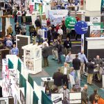 SHOW FLOOR: Attendees and exhibitors interact at the Northeastern Retail Lumber Association expo hall at the R.I. Convention Center in Providence. Over the three days the NRLA expo was held in February, attendees booked 3,052 hotel rooms and spent $1.13 ­million. / COURTESY NRLA