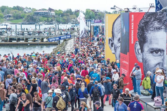 ECONOMIC BOOST: Crowds gather for the Volvo Ocean Race stopover in Newport in May 2015. According to an economic-impact report by Newport-based Performance Research, the race generated $47.7 million in total economic impact, including $32.2 million in spectator and organizational spending.  / COURTESY VOLVO OCEAN RACE/MARC BOW