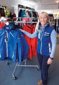 WEARING WELL: Martha Parker, owner of foul-weather sailing gear company Team One Newport, saw a significant sales bump from the 2015 Volvo Ocean Race held May 5-17 in Newport. She expects to exceed that result during this year's stopover. / PBN PHOTO/KATE WHITNEY LUCEY