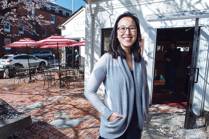NEW OWNER: Joanne Chang, new owner of Olga's Cup and Saucer in Providence's Jewelry District, purchased the neighborhood restaurant for $660,000 in November. She says the arrival of the Cambridge Innovation Center and construction of new housing in the district attracted her interest. / PBN PHOTO/RUPERT WHITELEY