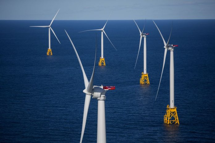 THE BLOCK ISLAND WIND FARM, developed by Deepwater Wind, was the first offshore wind farm in the United States. / BLOOMBERG FILE PHOTO/ERIC THAYER