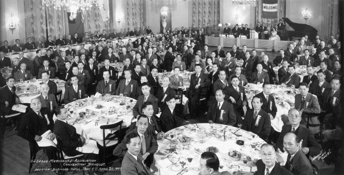 ONE OF THE photos displayed as part of the Providence's Chinatown exhibit. The On Leong Chinese Merchants Association, which held its national conference at the Providence Biltmore, is one testament to the active Chinese business community that resided in downtown Providence during the early to mid-20th century. / COURTESY ANGELA FENG