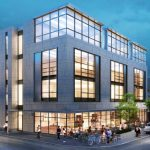 On Wednesday, the City Plan Commission is expected to review a revised design for a four-story building that would comply with the existing zoning for 249 Thayer St., Providence. / COURTESY ZDS ARCHITECTURAL DESIGN