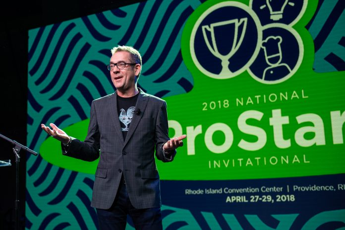 "TED ALLEN, host of ""Chopped"" on the Food Network and author of ""In My Kitchen,"" welcomes over 400 high school students from across the U.S. to the 17th Annual National Prostart Invitational. / COURTESY NATIONAL RESTAURANT ASSOCIATION EDUCATION FOUNDATION"
