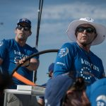 VESTAS 11TH HOUR RACING'S Mark Towill, left, and Charlie Enright, right, begin Leg 8 of the Volvo Ocean Race from Itajai, Brazil to Newport. / COURTESY VOLVO OCEAN RACE
