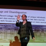REBECCA NUGENT of Carnegie Mellon University was the keynote speaker at Bryant University's Research and Engagement Day. Here, she talks about record linkage, a way of finding and linking attributes of an entity found in different data sets. / COURTESY BRYANT UNIVERSITY