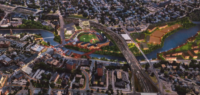 THE PAWTUCKET REDEVELOPMENT AGENCY has issued a request for proposals from consultants who can assist with plans for ancillary development around the proposed Ballpark at Slater Mill. / COURTESY PAWTUCKET REDEVELOPMENT AGENCY