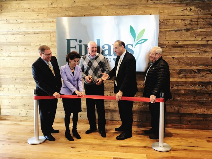 FINLAYS celebrated a ribbon cutting for its new R&D and manufacturing facility in the Quonset Business Park. From left, Steven J. King, managing director of Quonset Development Corp., Gov. Gina M. Raimondo, Steve Olyha, CEO of Finlay Extracts & Ingredients USA, Stefan Pryor, R.I. commerce secretary, and Richard A. Welch, president, North Kingstown Town Council. / COURTESY FINLAYS