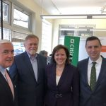 EIGHT RHODE ISLAND-BASED nonprofit organizations will share $140,000 of the $1.5 million recently donated nationwide by Citizens Bank to increase financial literacy. From left, Keith Kelly, president, Citizens Bank Rhode Island; Tony Maione, CEO, United Way of Rhode Island; Barbara Cottam, head of corporate affairs, Citizens Bank; and R.I. Treasurer Seth Magaziner. / COURTESY CITIZENS BANK