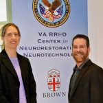 DR. MASCHA van 't Wout-Frank, left, and Dr. Noah S. Philip at the VA Center for Neurorestoration and Neurotechnology located at the Providence VA Medical Center in Providence. The pair are leading a team of physicians and scientists from CFNN and Brown University investigating whether a small amount of electricity can improve post traumatic stress symptoms and improve quality of life when used to augment virtual reality therapy. / COURTESY PROVIDENCE VA MEDICAL CENTER/KIMBERLY DIDONATO