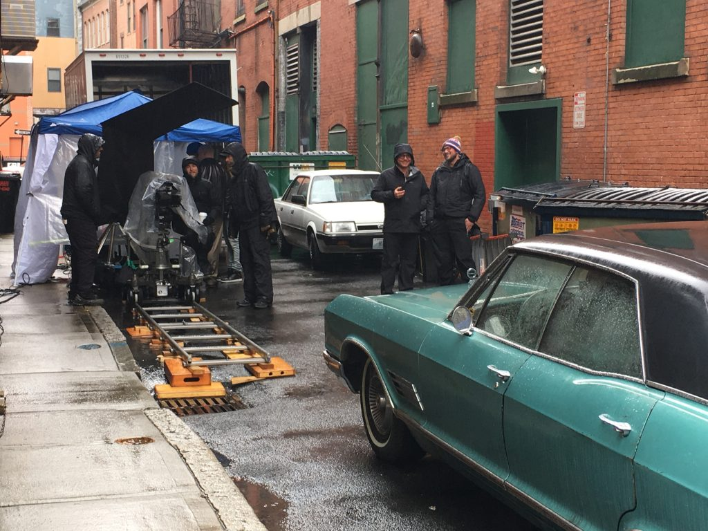 """FILMING FOR """"VAULT,"""" a movie about the 1975 Bonded Vault heist, recently filmed in Providence's Financial District. / PBN PHOTO/JAMES BESSETTE"""
