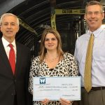 "THE WESTERLY EDUCATION CENTER recently received a $2,000 grant from The Washington Trust Charitable Foundation. From left, Dennis L. Algiere, senior vice president, chief compliance officer and director of community affairs for The Washington Trust Co.; Amy Grzybowski, executive director, Westerly Education Center; and Edward O. ""Ned"" Handy III, chairman and CEO, Washington Trust Bancorp. / COURTESY WASHINGTON TRUST"