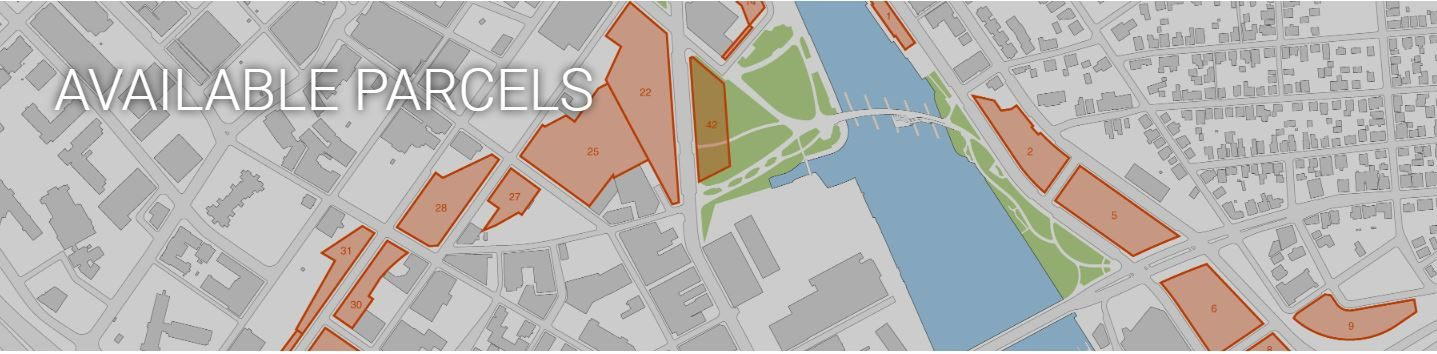 THE AVAILABLE PARCELS of the I-195 Redevelopment District. The Fane Building will occupy a portion of parcel 42. / COURTESY I-195 REDEVELOPMENT DISTRICT