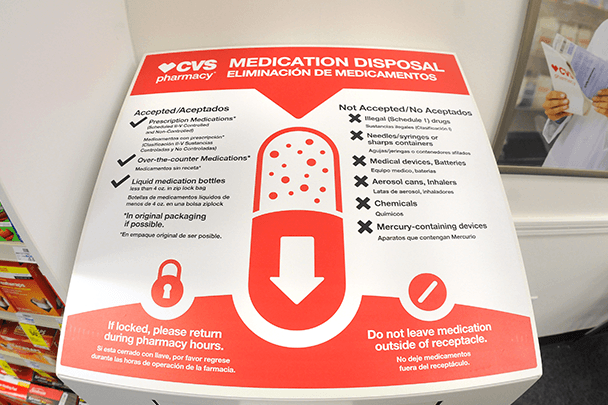 CVS HEALTH has committed to installing 900 drug disposal kiosks in its stores throughout the United States. There are 500 installed so far. / COURTESY CVS HEALTH
