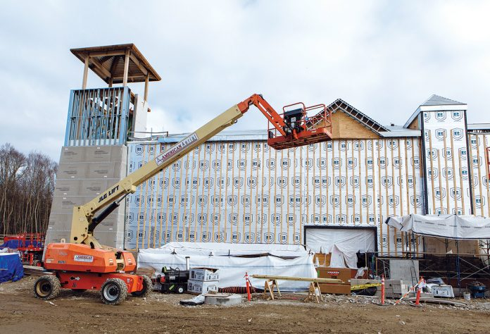 THE LAUNCH DATE of the Tiverton Casino Hotel has been moved up to Sept. 1. Above, the progress of the Tiverton property in March. The team said much of the exterior work has since been finished. / PBN FILE PHOTO/RUPERT WHITELEY