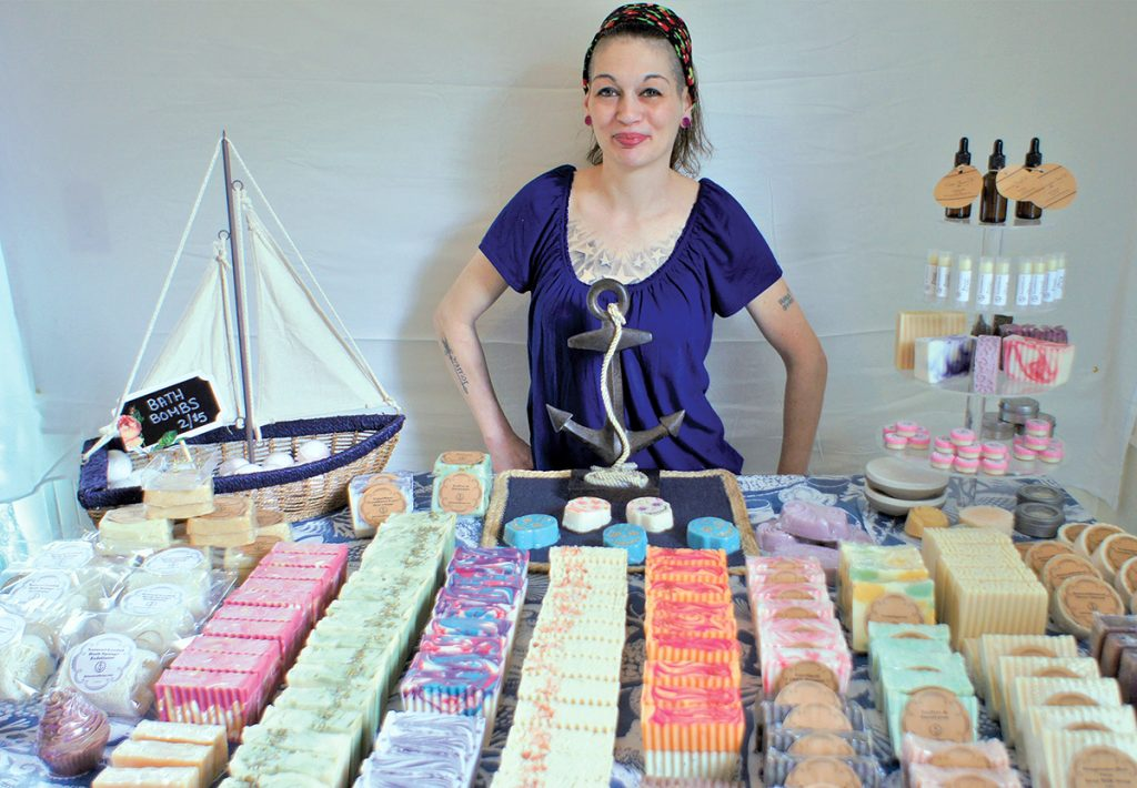 """SOAP SAVVY: Elizabeth Sylvia started Rhode Island Natural Soap in November, converting a spare bedroom in her Lincoln home into a """"soap lab,"""" and sells her product through a website, as well as at shows and the Providence Flea. / COURTESY ELIZABETH SYLVIA"""
