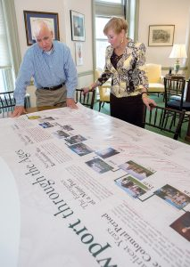 DEVOTED DIRECTOR: Trudy Coxe, Preservation Society of Newport County CEO and executive director, and Terry Dickenson, chief of staff, look over a banner that will hang in the new Welcome Center at The Breakers. / PBN PHOTO/KATE WHITNEY LUCEY