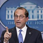 ALEX AZAR, secretary of Health and Human Services, speaks during a press briefing at the White House after an event on lowering drug prices with President Donald Trump. / BLOOMBERG FILE PHOTO/ANDREW HARRER