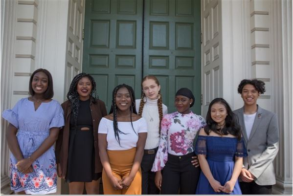 "THE SEVEN 2018 Carter Roger Williams Initiative scholarship initiatives are recognized on Wednesday, May 2. Left to Right: Coura Fall, Taiwo Demola, Dorbor Tarley, Sherenté Harris, Latifat Odetunde, Pichkatna ""Hannah"" Ung and Taliq Tillman. / COURTESY RHODE ISLAND FOUNDATION"