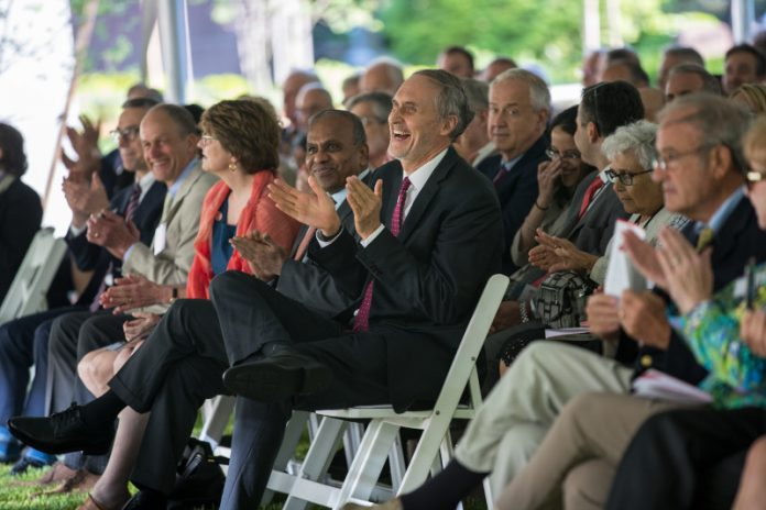 BROWN UNIVERSITY has dedicated its new Engineering Research Center located on Manning Way Thursday. Dean Larry Larson sits center, clapping, with keynote speaker Subra Suresh to his right and President Christina H. Paxson seated far right. / PHOTO BY NICK DENTAMARO / COURTESY BROWN UNIVERSITY