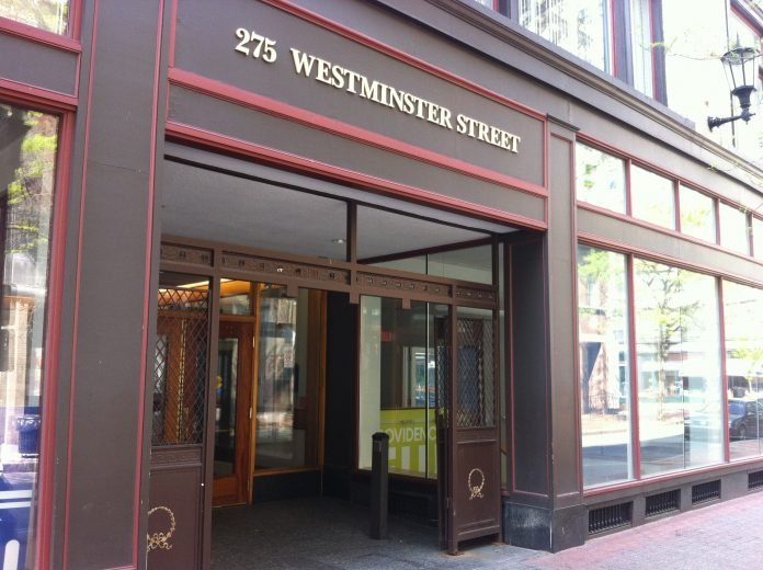 ERIC ZUENA, an architect with ZDS Architects, has presented plans to the Providence Downtown Design Review Committee to add a second entrance door on the left side of the Cherry & Webb building at 275 Westminster St. / PBN PHOTO/MARY MACDONALD