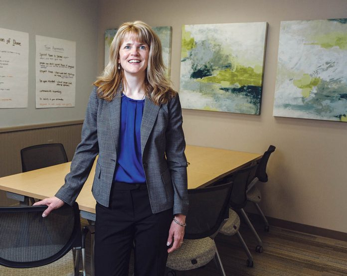 ALTERING CEO: Sara S. Johnson, co-president and CEO of Pro-Change Behavior Systems, has led lifestyle-changing interventions improving people's health through psychologically directed software applications. / PBN PHOTO/RUPERT WHITELEY