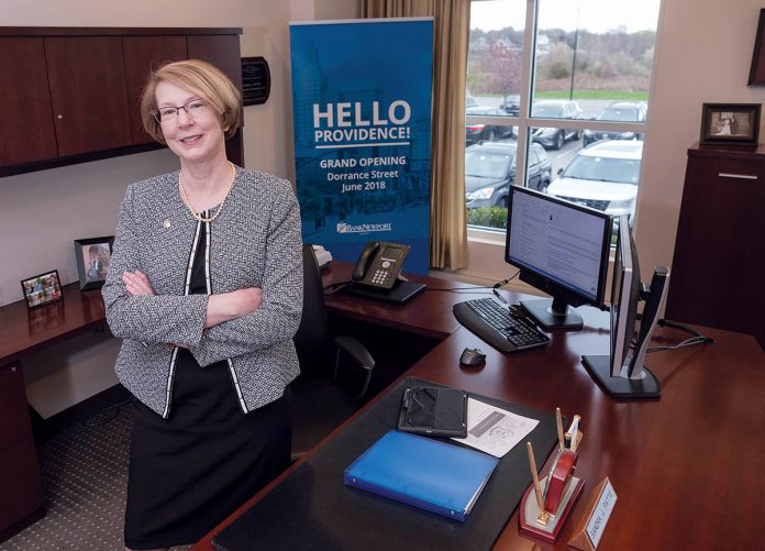DILIGENT DECADES: Sandra J. Pattie, president and CEO at BankNewport, credits her success to years of hard work, and taking on challenges with confidence. / PBN PHOTO/MICHAEL SALERNO