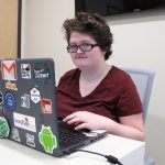 FRANCES MULLIGAN, a sophomore software engineering major at Johnson & Wales University, was a member of the all-female team with the most entrepreneurial hack at the SheHacks Boston competition in January. / COURTESY JWU