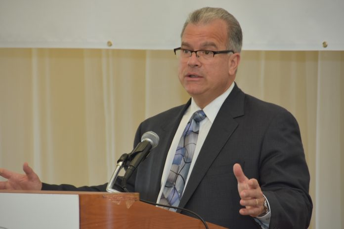 AT A BREAKFAST hosted by the Northern Rhode Island Chamber of Commerce, R.I. House Speaker Nicholas A. Mattiello said the legislature had a new framework for the PawSox deal. / COURTESY U.S. SMALL BUSINESS ADMINISTRATION/RYAN BRISSETTE