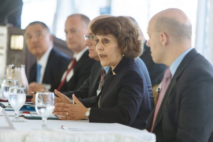 OHIC HAS ANNOUNCED rate increase requests by the state's major insurers for 2019. Above, Marie L. Ganim, the Rhode Island Health Insurance Commissioner, speaks during the October 2017 PBN Health Care Summit. / PBN FILE PHOTO/ RUPERT WHITELEY