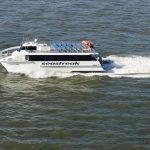 PROVIDENCE-NEWPORT ferry service resumed Friday and will run through Columbus Day weekend. / COURTESY COMMERCE RI