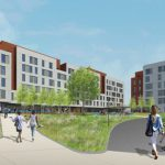 THE UNIVERSITY OF RHODE ISLAND has begun constructing a new $94 million, 500-bed residence on its South Kingstown campus known as Brookside Apartments. / COURTESY SASAKI ASSOCIATES, INC.