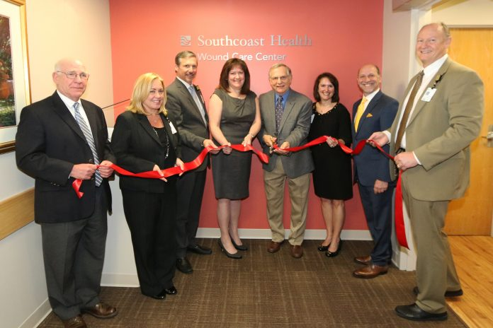 SOUTHCOAST HEALTH OPENED its new wound center at St. Luke's Hospital May 7. From left: Dr. Gerald Monchik, medical director, Wound Care Center, Charlton Memorial Hospital; Renee Clark, chief operating officer, Southcoast Health; Keith A. Hovan, president and CEO, Southcoast Health; Patricia Webster, area vice president, Healogics Inc.; Dr. Robert Sandfort, medical director, Wound Care Center, St. Luke's Hospital; Cheryl Thompson, director, Southcoast Health Wound Care Center; Jason Rua, chair, Southcoast Health board of trustees; and Timothy Eixenberger, chief nursing officer, Southcoast Health. / COURTESY SOUTHCOAST HEALTH