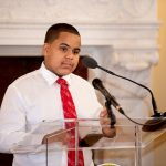 ANTHONY CANDELARIO, a seventh-grade student who participates in NeighborWorks Blackstone River Valley's after-school program, speaks about the program's positive impact on his life and academic performance during United Way of Rhode Island's advocacy at the Statehouse May 24 in support of creating a legislative commission to improve and increase the number of the state's out-of-school learning programs. / COURTESY UNITED WAY OF RHODE ISLAND