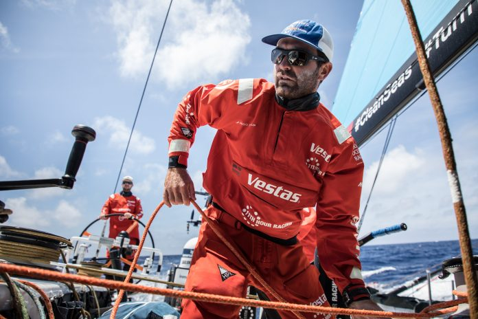 CHARLIE ENRIGHT, Skipper for Vestas 11th Hour, works in the pit on Day 15 of Leg 8 from Itajai, Brazil, to Newport. / COURTESY VOLVO OCEAN RACE/MARTIN KERUZORE CHARLIE ENRIGHT, Skipper for Vestas 11th Hour, works in the pit on Day 15 of Leg 8 from Itajai, Brazil, to Newport. / COURTESY VOLVO OCEAN RACE/MARTIN KERUZORE