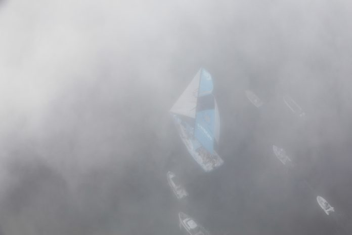 VESTAS 11TH HOUR RACING placed third in the leg from Itajai, Brazil, to Newport, arriving to a foggy Newport Harbor. / COURTESY VOLVO OCEAN RACE/AINHOA SANCHEZ