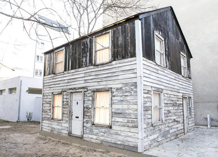 THE ROSA PARKS HOUSE, which had been on display at the WaterFire Arts Center in Providence, is going to auction in New York City. / COURTESY FABIA MENDOZA